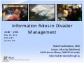 Information Roles in Disaster Management