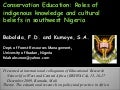 Roles Of Indigenous Knowledge And Cultural Beliefs In Southwest Nigeria   Babalola