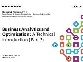Business Analytics and Optimization Introduction (part 2)