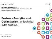 Business Analytics and Optimization Introduction