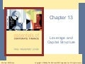Ross, Chapter 13: Leverage And Capital Structure