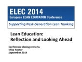 European Lean Educator Conference 2014 - Closing Remarks