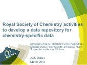 Royal society of chemistry activities to develop a data repository for chemistry specific data final