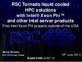RSC Tornado based HPC solutions wit...
