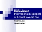 RSR Library Innovations in Support ...