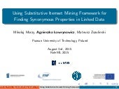 RuleML2015 - Using Substitutive Itemset Mining Framework for Finding Synonymous Properties in Linked Data