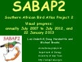 SABAP2 Annual Progress - July 2007 to January 2013