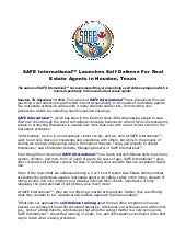 Safe international™ launches self defense for real estate agents in houston, texas