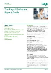 Sage Payroll Software Buyers Guide