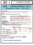 SAIL Recruits : EC, EE, E&T, CS, CE, ME Engineers for the post of Management Trainee