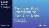 Presales Best Practices You can Use Now, by Doug Johnson