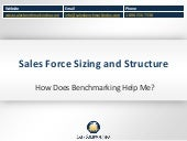 Sales force sizing and structure - How Does Benchmarking Help Me