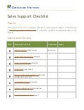 Sales Support Checklist