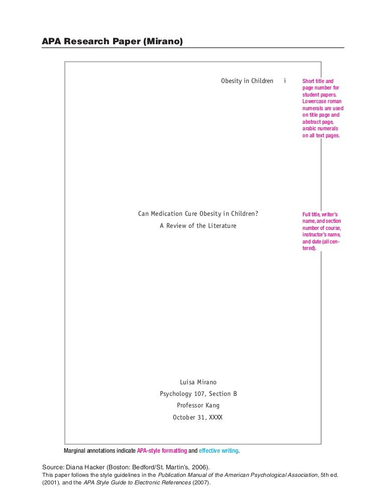 title page for apa paper