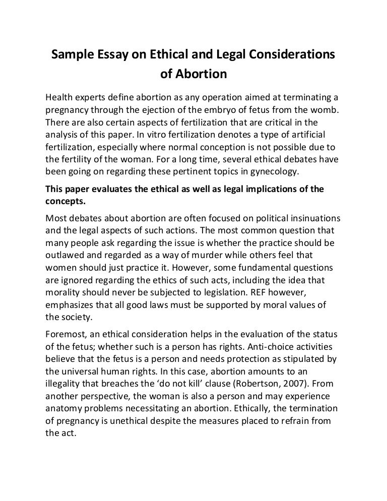 Thesis statement for a persuasive essay on abortion