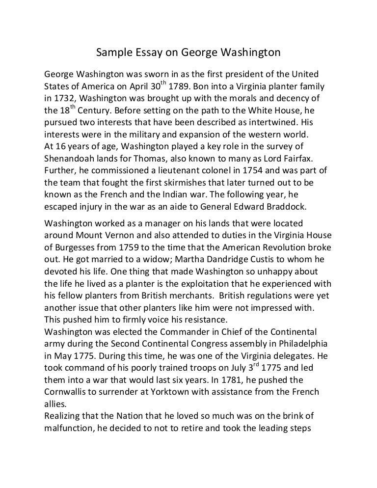 sample essay on george washington