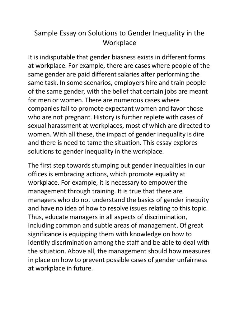 gender inequality essay sample essay on effects of gender  sample essay on solutions to gender inequality in the workplace