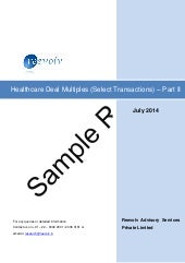 Sample report - Healthcare deal multiples (select transactions) - part 2