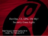 DevOps, CLI, APIs, Oh My!  Security Gone Agile