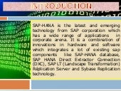 Sap hana 1.0 online training overview