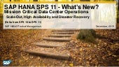 What's New in SAP HANA SPS 11 Mission Critical Data Center Operations