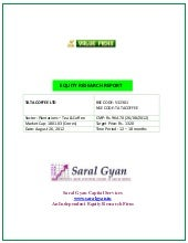 Saral Gyan Value Pick - Aug 2012