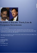 Scandal at satyam truth lies & corporate governance