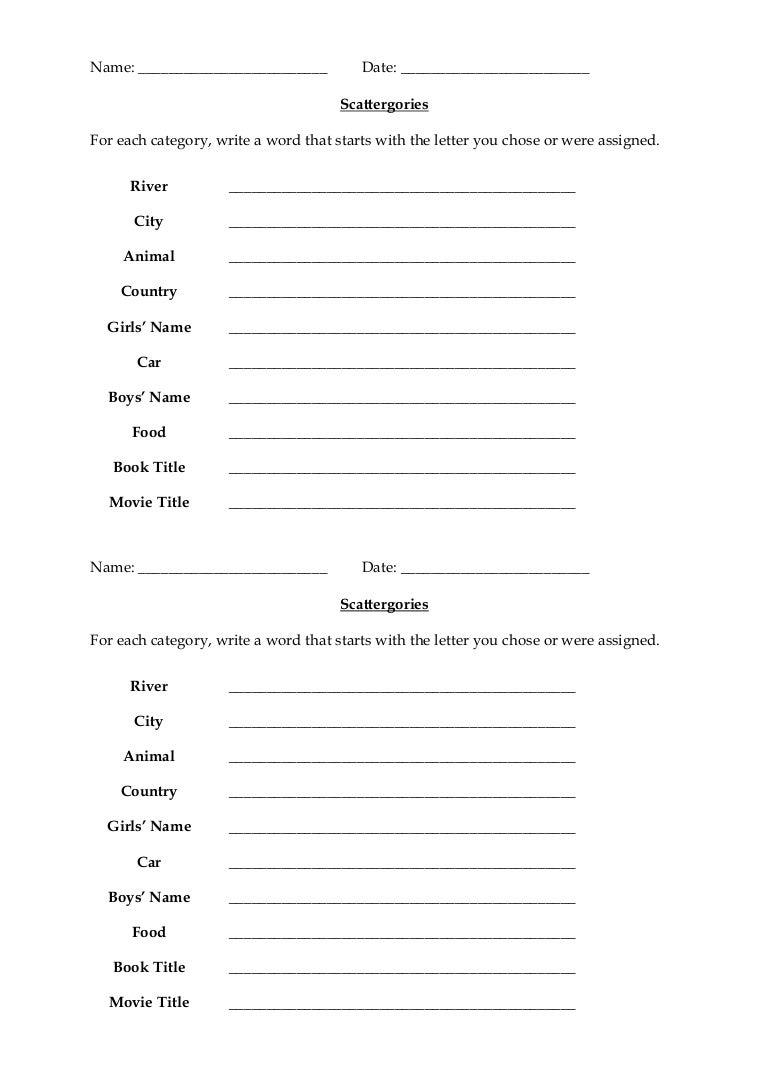 Scattergories with Categories - Printable Worksheet