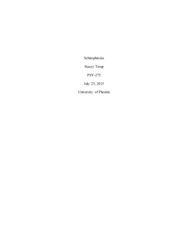 Paper on schizophrenia