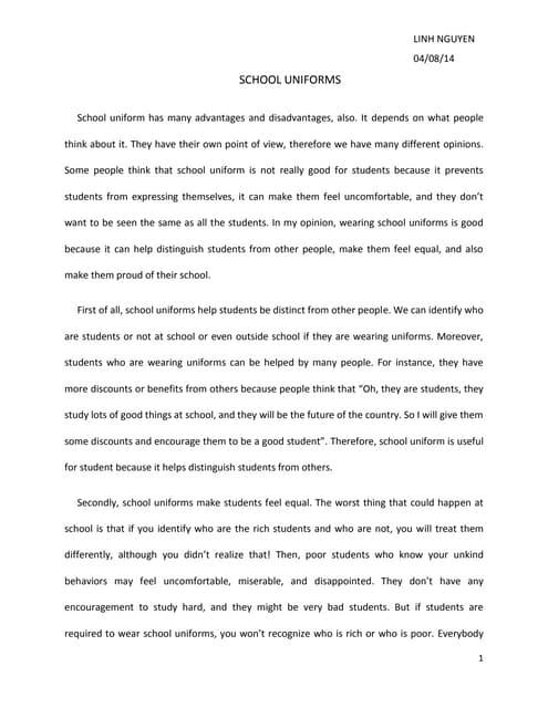 persuasive essay about school uniform
