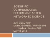 Scientific Communication Before and After Networked Science
