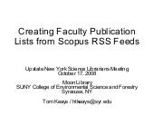 Creating Faculty Publication Lists ...