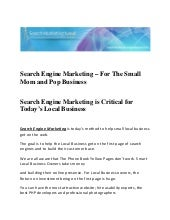 Search Engine Marketing - For The S...