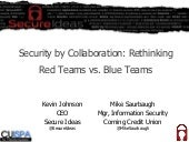 Security by Collaboration: Rethinking Red Teams versus Blue Teams