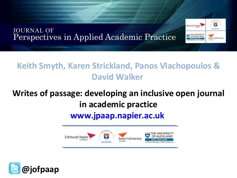 Writes of passage: developing an inclusive open journal in academic practice