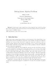 Setting linear algebra problems