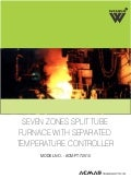 Seven zones split tube furnace with separated temperature controller