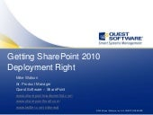 Getting SharePoint 2010 Deployment ...