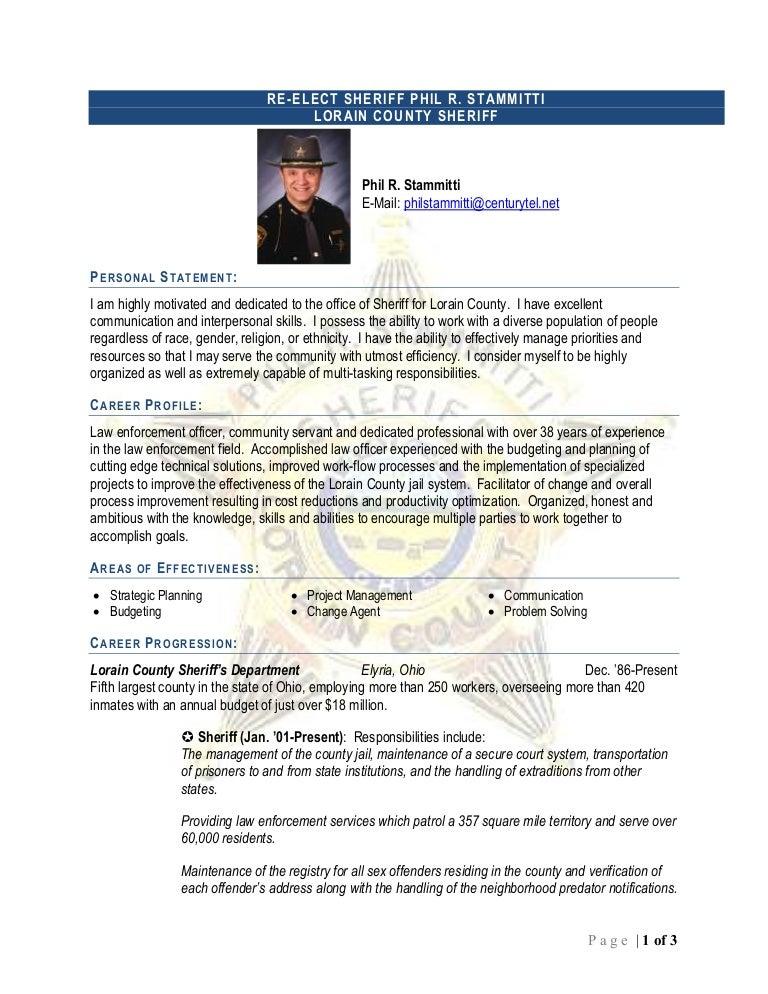 sheriff phil r  stammitti resume