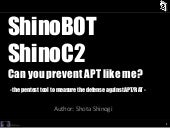 Introduction of ShinoBOT (Black Hat...
