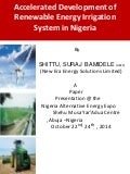 Accelerated Development of Renewable Energy Irrigation System in Nigeria