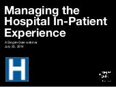 Managing the hospital in-patient experience | Understanding where to invest