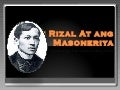 Si rizal at ang masoneriya