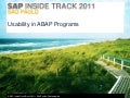 Usability in ABAP Programs - SITSP2011