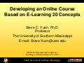 Developing an Online Course Based on E-Learning 2.0 Concepts