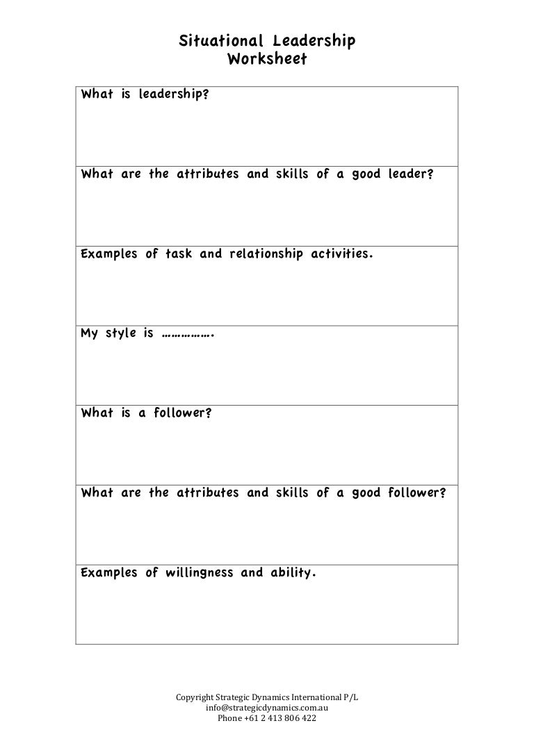 Printables Leadership Worksheets situational leadership worksheet