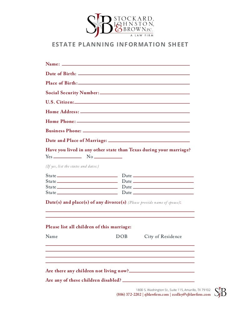 Estate Planning Worksheet Sharebrowse – Estate Planning Worksheet