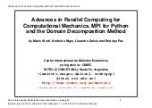 Advances in Parallel Computing for ...