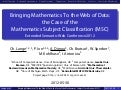 Bringing Mathematics To the Web of Data: the Case of the Mathematics Subject Classification (MSC)