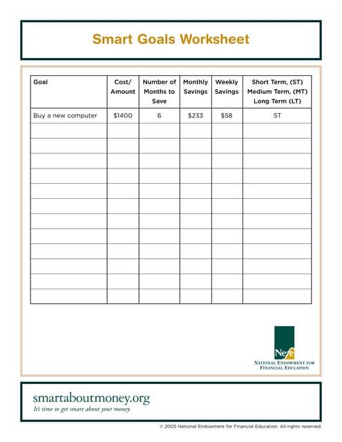 Printables Smart Goal Worksheet Pdf zig ziglar goal worksheet